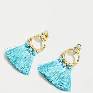 J.Crew Pave Tassel Earrings In Vintage Aqua